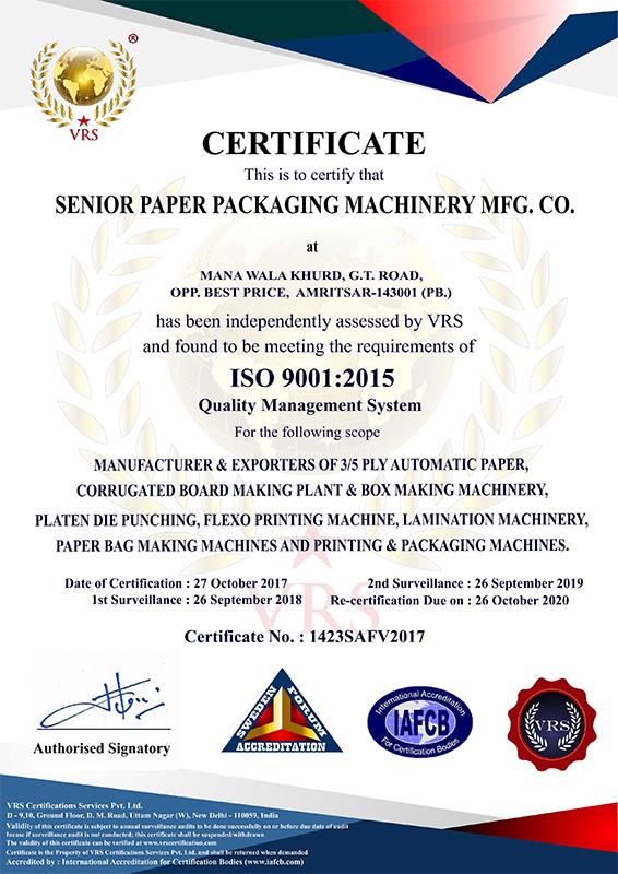 Senior Paper Packaging Machinery Mfg  Co | Die Punching Machine